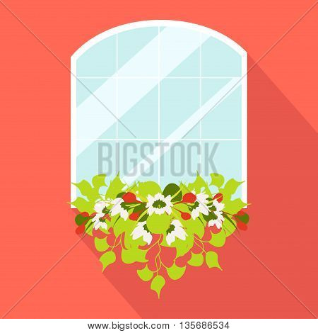 Window with flowerpot made in flat style isolated on red background. Vintage window. Glass window vector illustration.