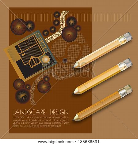 Vector illustration of garden plan with tree symbols, pencils and words Landscape design on brown background.