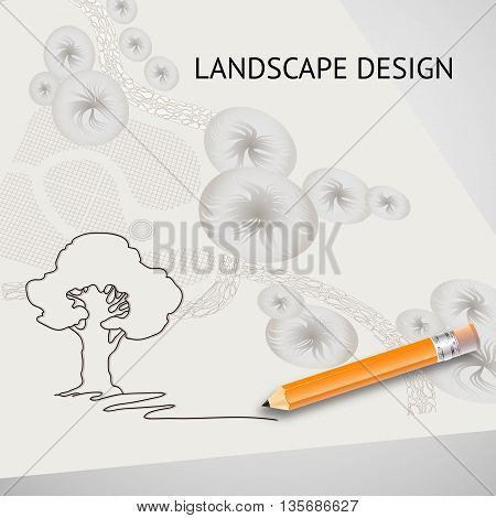 Vector illustration of silhouette tree, garden plan with tree symbols, pencils and words Landscape design on light background.