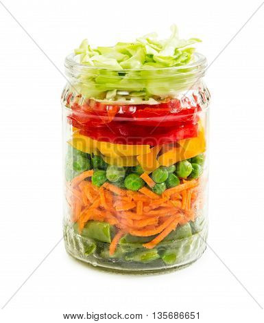 Prepared For Canning Colorful Vegetables In Glass Jar