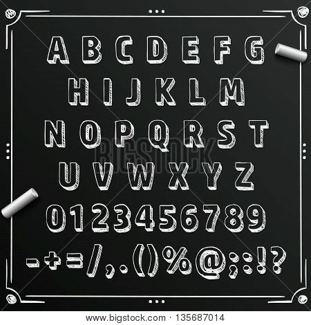 Chalkboard sketch font abc sign, set letter