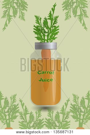 carrot juice in the jar with carrots inside