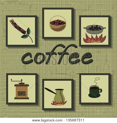 coffee set. stages of coffee process from grain growing to drink