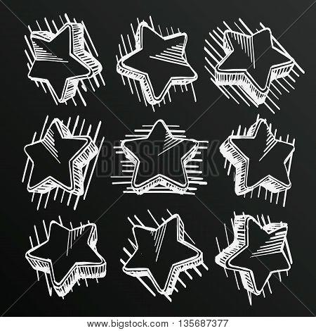 Chalkboard sketch of hand drawn star set, template design element