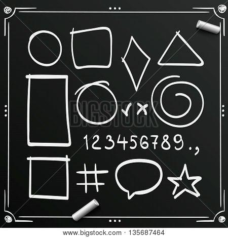 Chalkboard sketch symbols sign. Sketch figure icons, Sketch numbers, Vector illustration