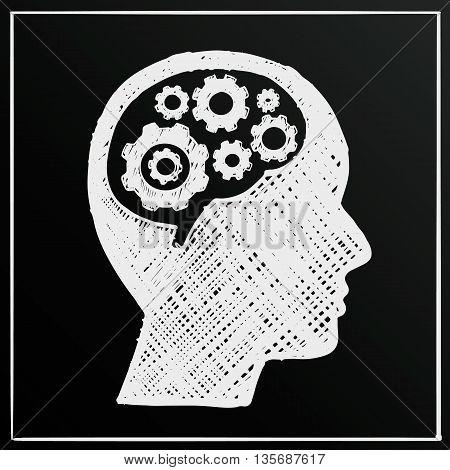 Chalkboard head brain gear, Business man idea