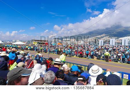 QUITO, ECUADOR - JULY 7, 2015: Lots of people waitting to see pope Francisco, mass in Ecuador.