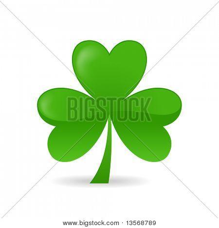 Irish shamrock ideal for St Patrick's Day isolated over white background