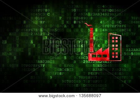 Manufacuring concept: pixelated Industry Building icon on digital background, empty copyspace for card, text, advertising