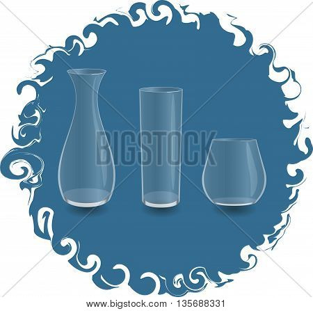 empty glass vase and two glass in frame