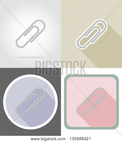 clip stationery equipment set flat icons vector illustration isolated on white background