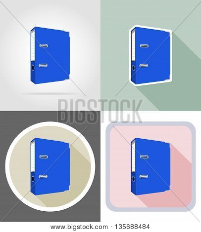 folder stationery equipment set flat icons vector illustration isolated on white background