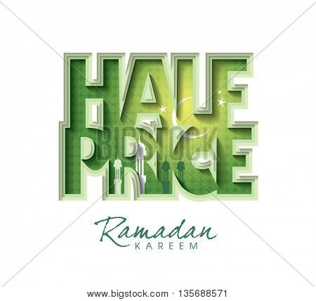 Sale Ramadan concept vector banner. sale layout design. Holy month of muslim. Crescent Moon Ramadan. Vector illustration.
