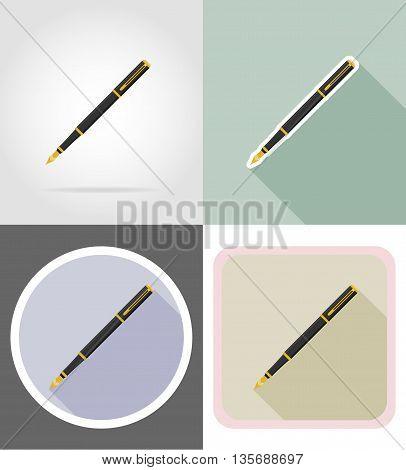 pen stationery equipment set flat icons vector illustration isolated on white background