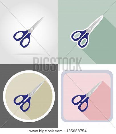 scissors stationery equipment set flat icons vector illustration isolated on white background