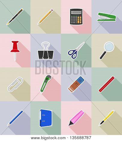 stationery equipment set flat icons vector illustration isolated on white background
