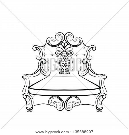 Royal Imperial Armchair in Rococo style with damask luxurious ornaments. Vector