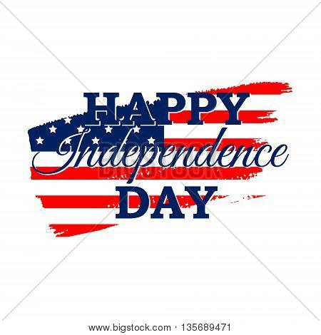 Happy Independence Day greeting card with American flag. 4th July festive concept design in traditional American colors - red white blue. Isolated.