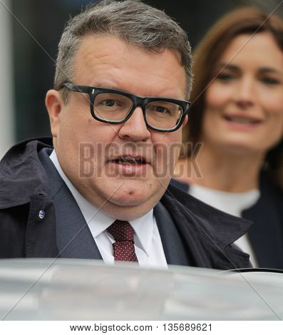LONDON, UK - SEPTEMBER 13, 2015: Tom Watson deputy leader of the Labour Party seen leaving the BBC Andrew Marr Show picture taken from the street