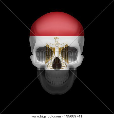 Human skull with flag of Egypt. Threat to national security war or dying out
