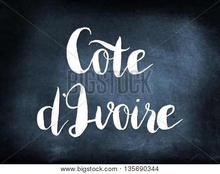 Cote d'Ivoire written on a blackboard