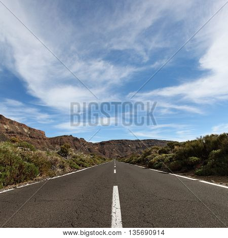 Canary Islands Tenerife landscape with road mountain and sky