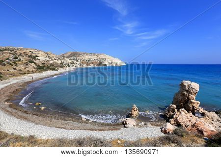 Cyprus seashore landscape in summer day