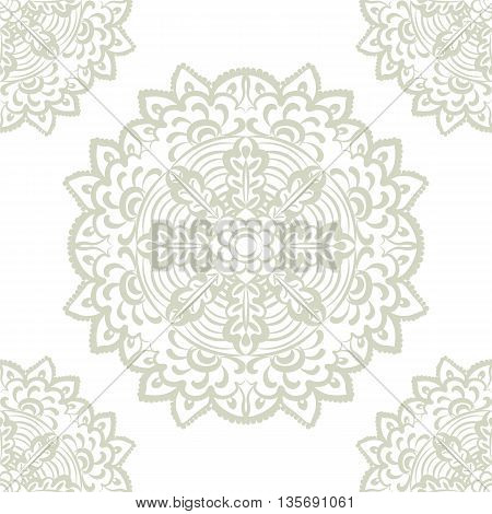 Vector floral round element in Eastern style. Ornamental lace pattern for wedding invitations and greeting cards backgrounds fabrics textile. Lint green color