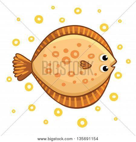 Cute cartoon flatfish isolated. Flatfish on a white background vector illustration.