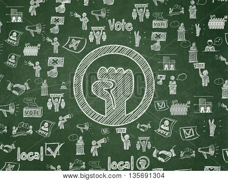 Political concept: Chalk White Uprising icon on School board background with  Hand Drawn Politics Icons, School Board