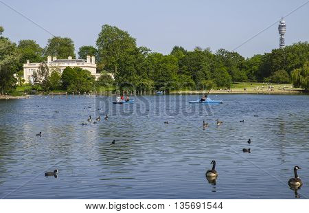 A view of The Holme in Regents Park with the BT Tower in the distance in London.