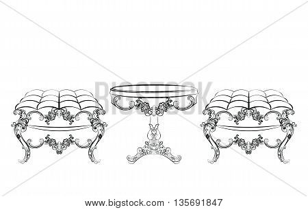 Baroque Rich style furniture. Elegant table and chair set with rich acanthus ornaments. Vector sketch