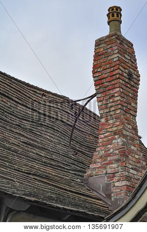 Wavy chimney and roof located in California