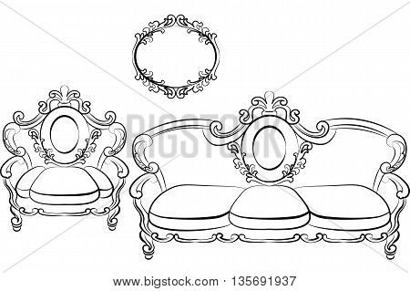 Royal Sofa and Armchair set in Rococo Baroque style with damask luxurious ornaments. Vector