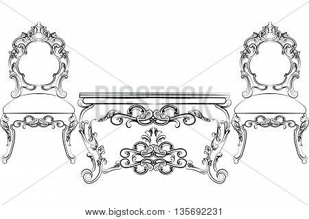 Baroque Luxurious style furniture. Elegant Wood table and chair set with rich acanthus ornaments. Vector sketch