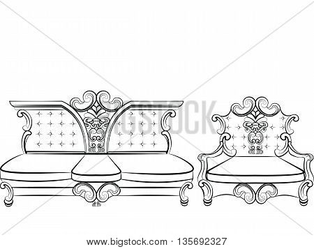 Royal Sofa and Armchair set in Baroque Rococo style with damask luxurious ornaments. Vector