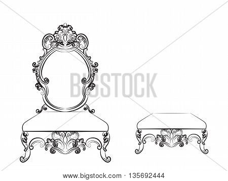 Baroque Luxurious style furniture. Rich table chair and bench set with rich acanthus ornaments. Vector sketch