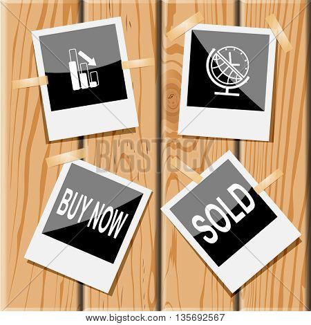 Business set.Photo frames on wooden desk. Vector icons.