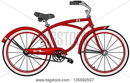 Illustration of a red cartoon bicycle with red-wall tires and creme colored accents.