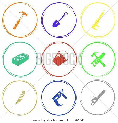 Industrial tools set. Internet button. Vector icons.