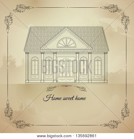 Vector retro illustration Home Sweet Home with old house in floral frame on light spotted background. Picture in vintage style. For housewarming posters, greeting cards, home decorations, mood board.