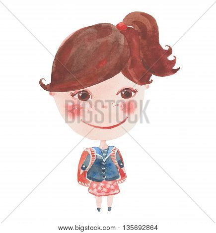 small schoolgirl with a backpack watercolor illustration on a white background
