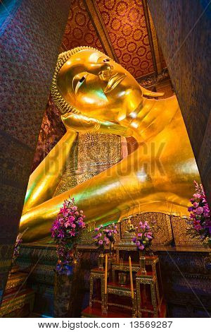 Giant Buddha Inside Wat Pho Temple, Bangkok, Thailand.