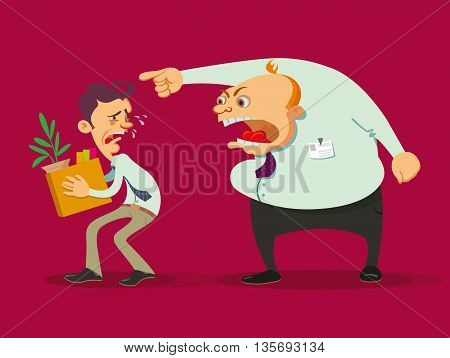 dismissed crying employee holding the carton box and angry boss