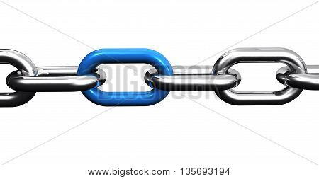 Steel chain with a blue link business collaboration and teamwork concept closeup 3D illustration isolated on white background.