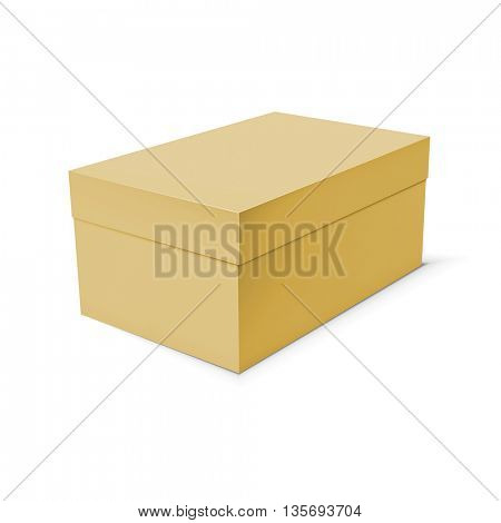 Blank cardboard box template on white background. Vector illustration.