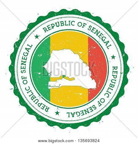 Senegal Map And Flag In Vintage Rubber Stamp Of State Colours. Grungy Travel Stamp With Map And Flag