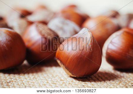 Hazelnuts on rustic background. beautiful macro nuts