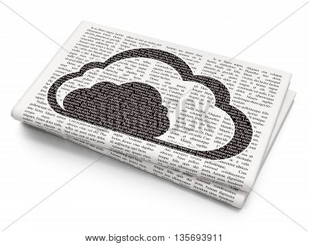 Cloud technology concept: Pixelated black Cloud icon on Newspaper background, 3D rendering