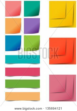 Colourful vector square and restangular sticker icons with peeled corner